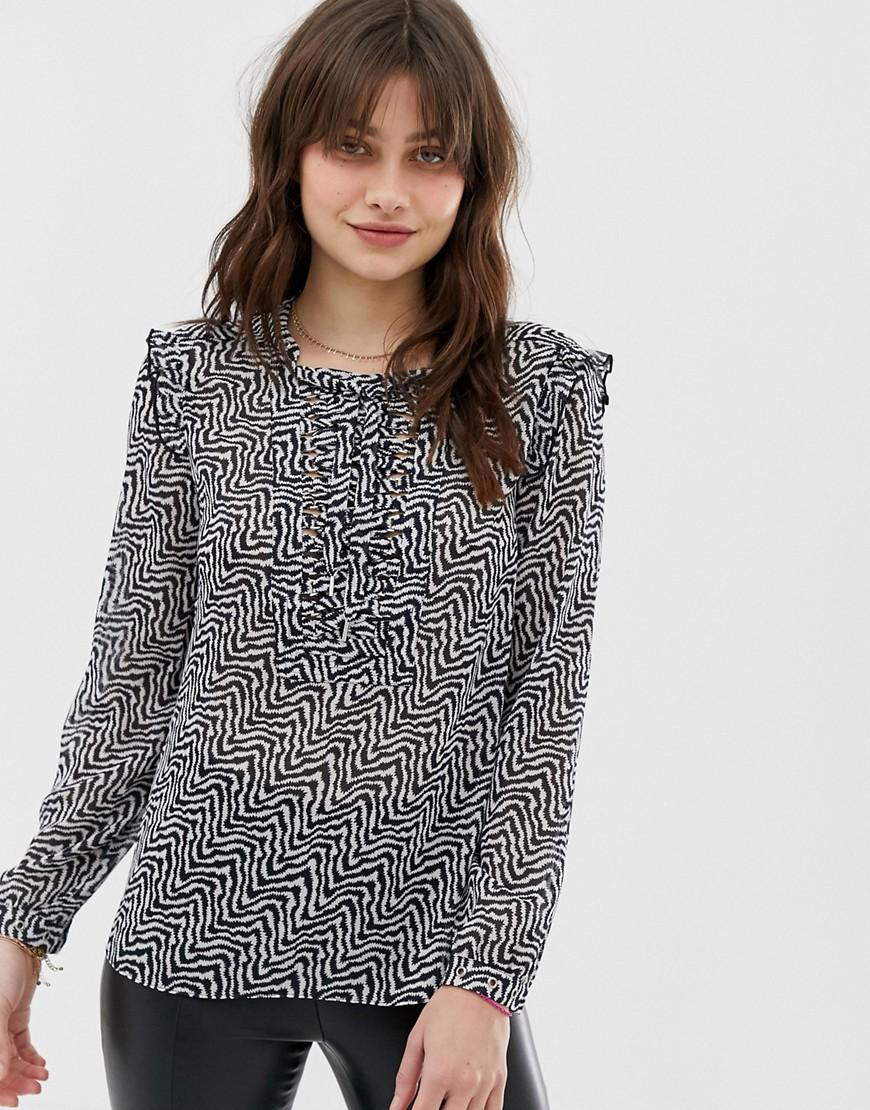 Полупрозрачная блузка с принтом Maison Scotch-Серый