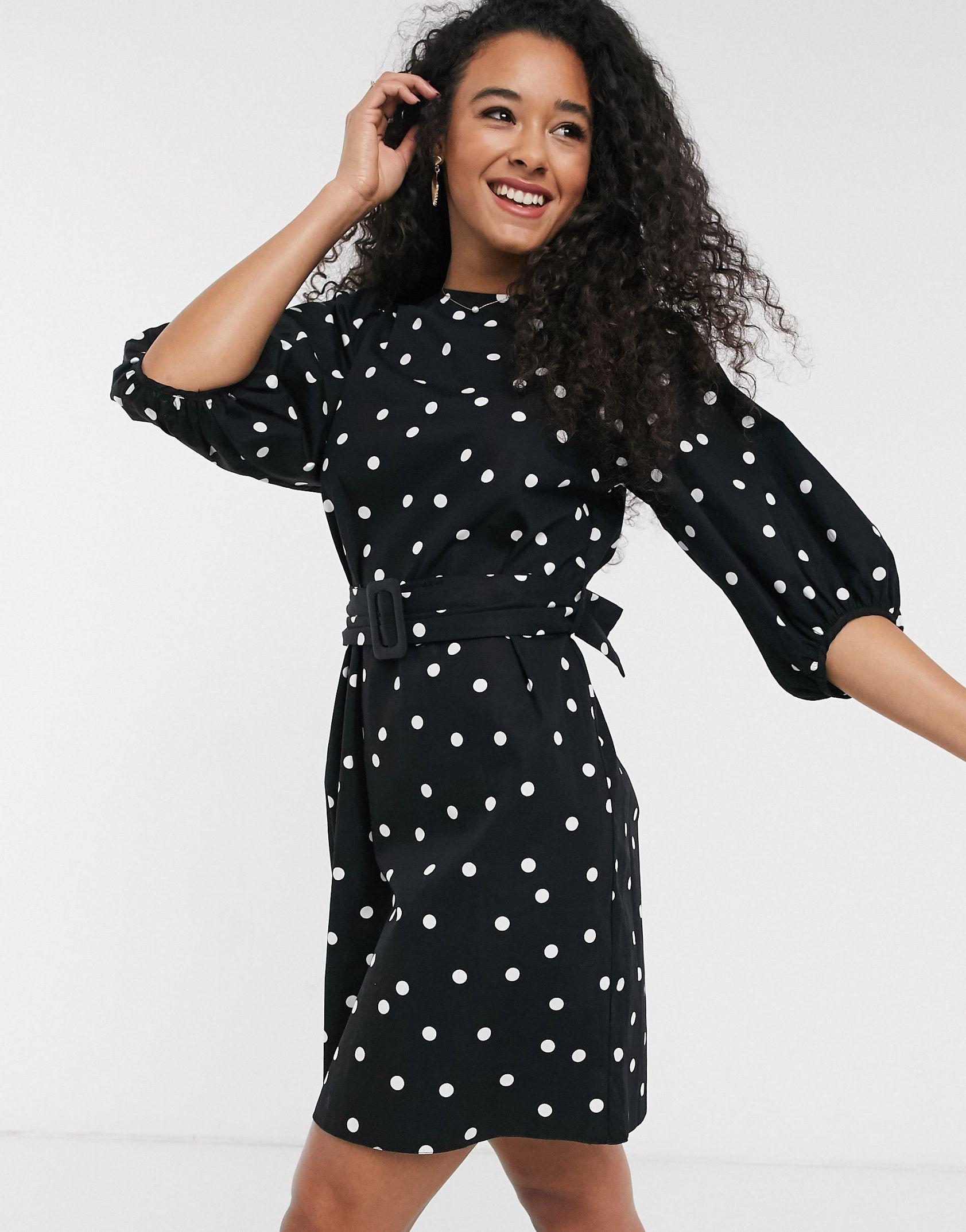 New Look poplin belted mini dress in polka dot - ASOS Price Checker