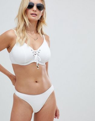 Image 1 of Pour Moi Fuller Bust Escape underwired lace up bikini top in white rib