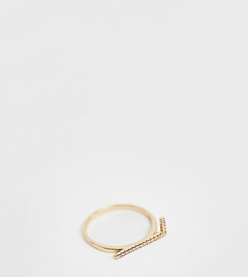Позолоченное кольцо 'L' с отделкой паве Galleria Armadoro-Золотой Galleria Amadoro