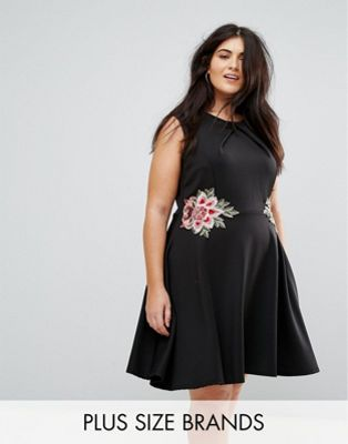 Praslin Skater Dress with Floral Embroidery