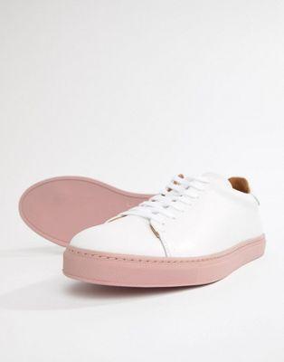 Премиум-кроссовки с контрастной розовой подошвой Selected Homme