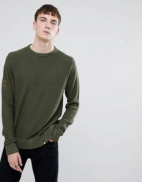 Pretty Green textured crew neck sweater in khaki