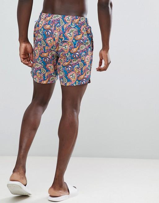 517c121eb6367 Pretty Green vintage paisley logo swim shorts in multi | ASOS
