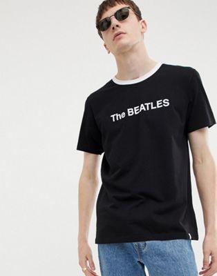 Pretty Green x The Beatles logo t-shirt in black