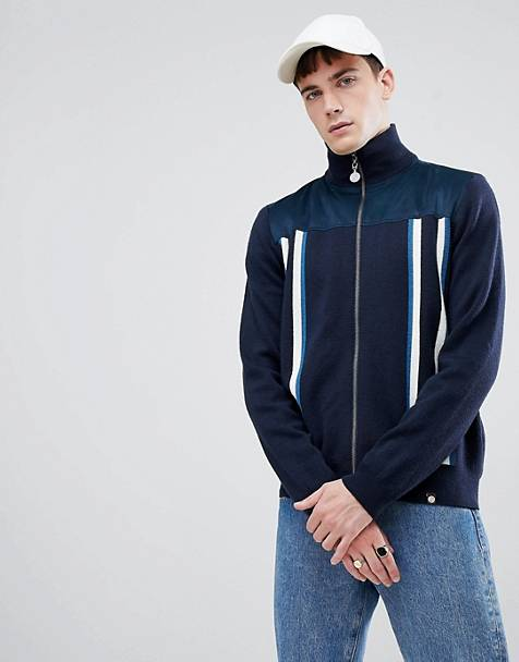 Pretty Green zip-thru funnel neck cardigan in navy