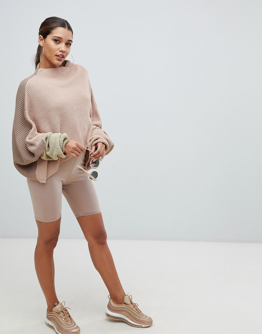 Pretty Little Thing Colour Block Balloon Sleeve Jumper In Nude by Pretty Little Thing