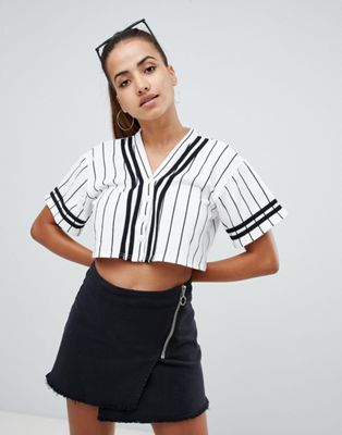 PrettyLittleThing cropped baseball top in stripe