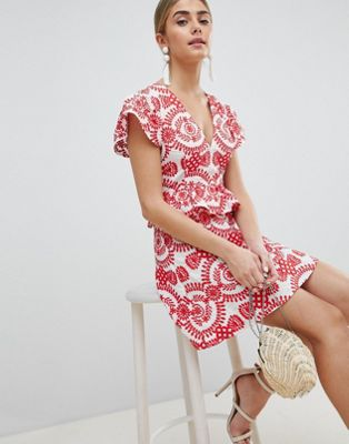 PrettyLittleThing Embroidered Broiderie Dress