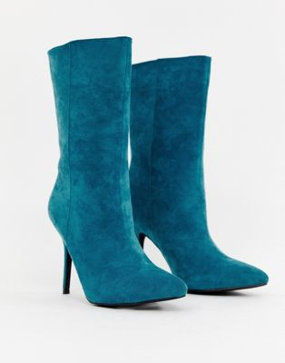 Image 1 of PrettyLittleThing faux suede high heeled ankle boot in teal