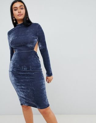 Image 1 of PrettyLittleThing High Neck Open Back Velvet Midi Dress