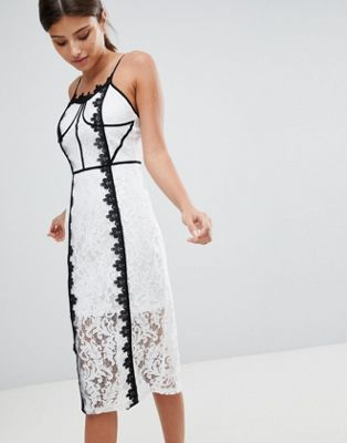 PrettyLittleThing Lace Contrast Midi Dress