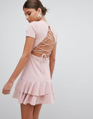 PrettyLittleThing Lace Up Back Detail Frill Hem Dress