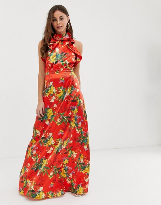 Image 1 of PrettyLittleThing maxi dress with frill detail in red floral satin