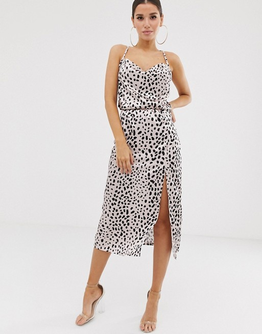 midi dress with cowl neck in light pink leopard satin