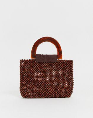 Image 1 sur PrettyLittleThing - Petit sac orné de perles avec poignées en résine - Marron
