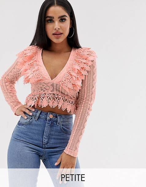 PrettyLittleThing Petite peplum v neck blouse with lace frill detail in dusky pink