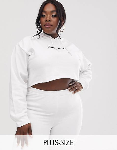 PrettyLittleThing Plus  cropped hoodie with  embroidered logo in white
