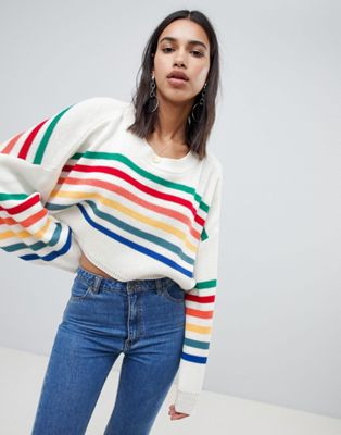 PrettyLittleThing Rainbow Stripe Jumper