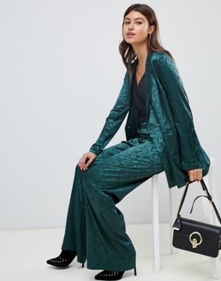 Image 1 of PrettyLittleThing satin jacquard wide leg pant in green