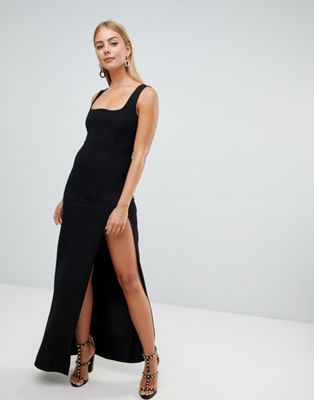 PrettyLittleThing Square Neck Split Leg Maxi Dress