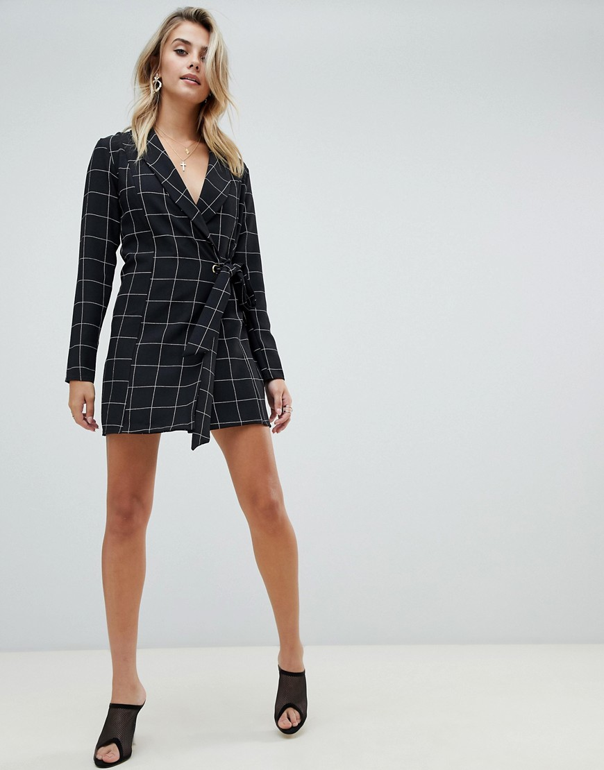 Pretty Little Thing Tie Side Blazer Dress In Black Check by Pretty Little Thing