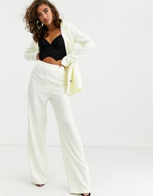 PrettyLittleThing wide leg trousers co-ord in ivory