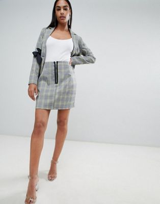 PrettyLittleThing Zip Detail Check Skirt