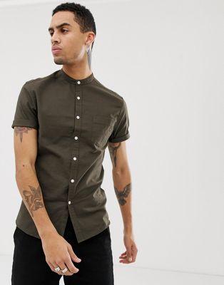 Приталенная оксфордская рубашка хаки в стиле casual с воротником-стойкой ASOS DESIGN