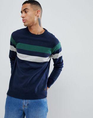 Produkt Stickad tröja i bomull med rand på ärmen