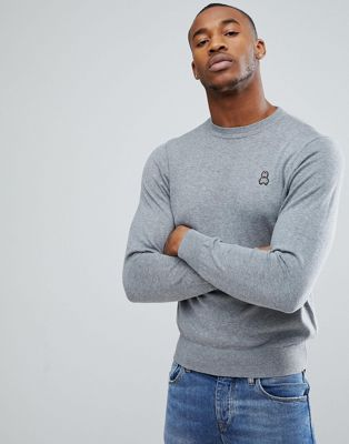 Psycho Bunny Crew Jumper Cotton Knit in Grey Marl