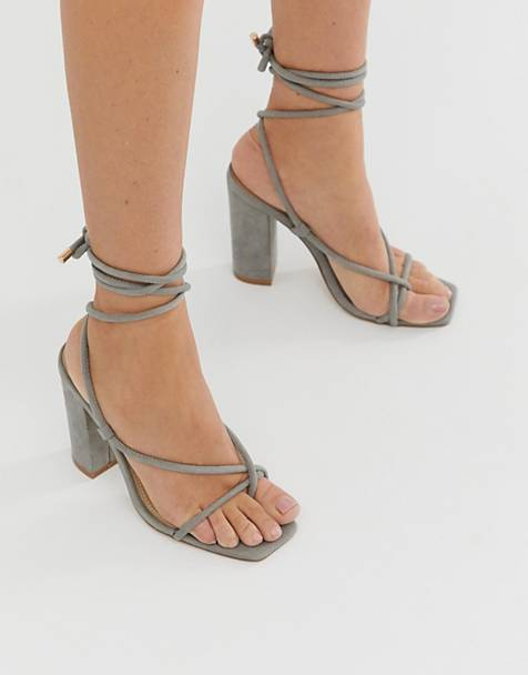 Public Desire Betty gray ankle tie toe loop heeled sandals