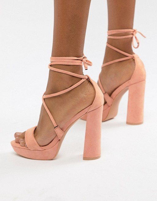 Public Desire Freesia Peach Platform Block Heeled Sandals