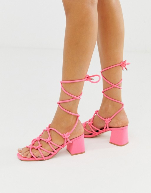 Public Desire Freya bright pink ankle tie mid heeled sandals