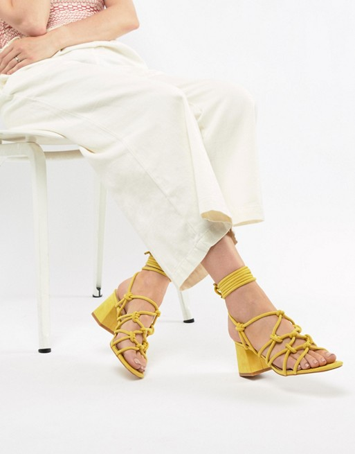 9b434441b6a Public Desire Freya Yellow Mid Block Heeled Sandals
