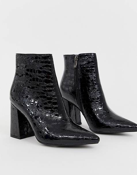d7dd0ae319 Public Desire Hollie black mock croc heeled ankle boots
