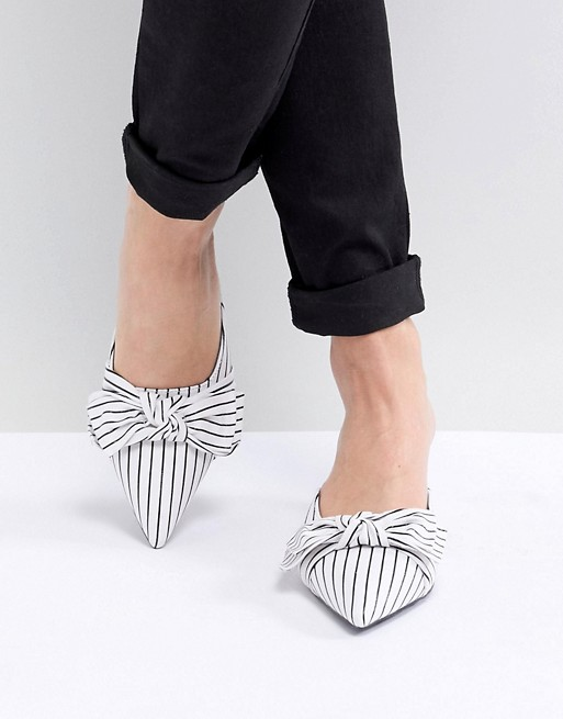 Image 1 of Public Desire Karrie White Stripe Kitten Heeled Mules