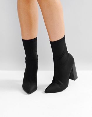 Image 1 of Public Desire Libby Black High Heeled Sock Boots