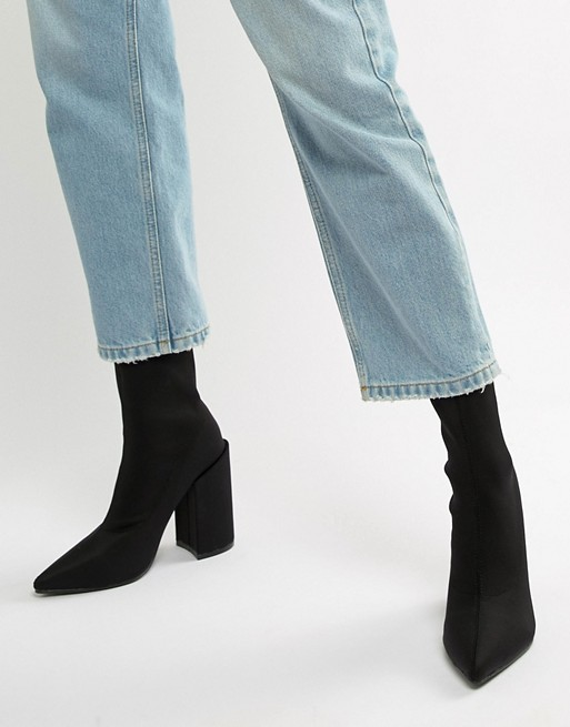 Image 1 of Public Desire Salt Black Block Heel Sock Boots
