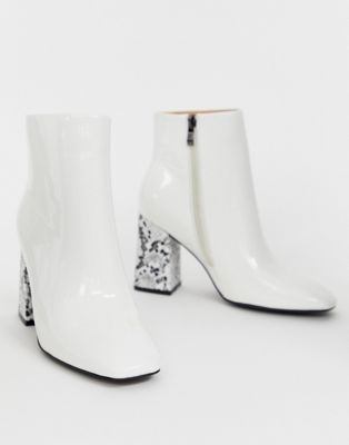 Image 1 of Public Desire Vesper white ankle boots with square toe and snake heel