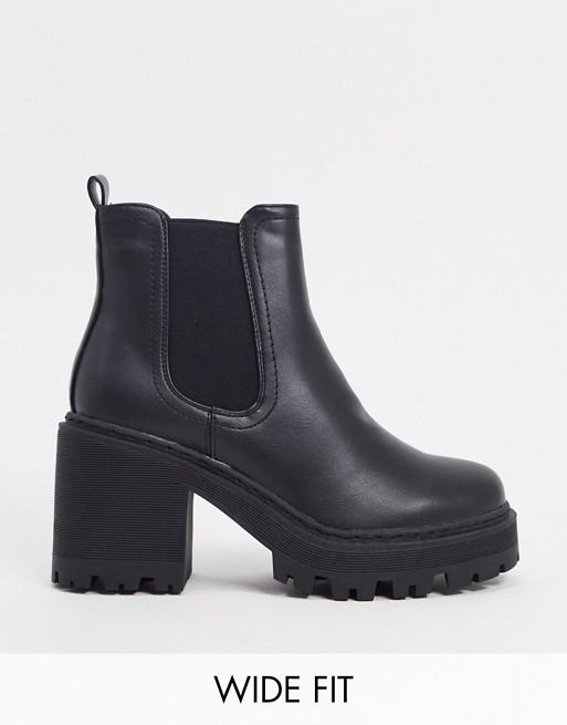 Public Desire Wide Fit - Fuzzy - Bottines chunky à talon - Noir Chaussures femme