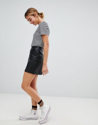 Pull&bear basic pu skirt