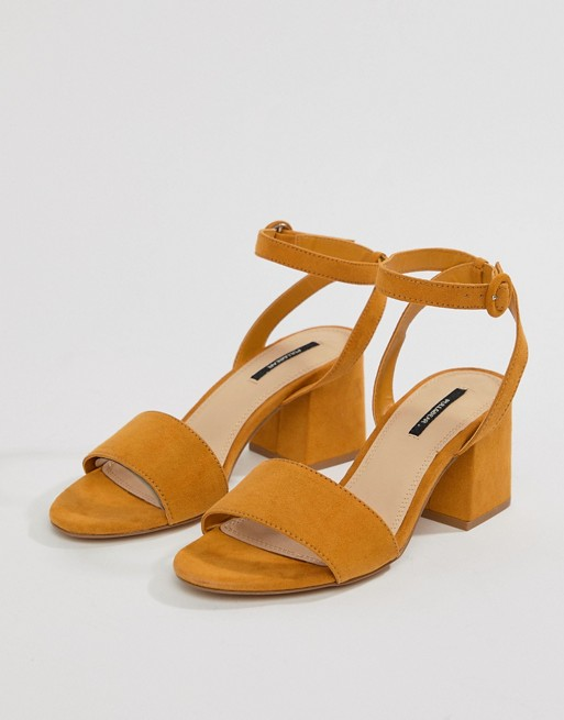439cb0f9d14 Pull&Bear block heel two part mid sandal in mustard