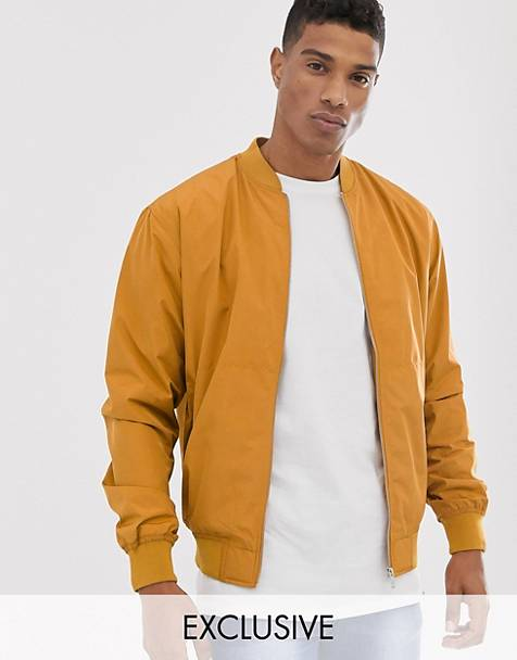Pull&Bear bomber jacket in mustard Exclusive at Asos