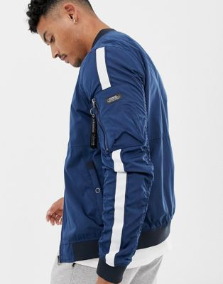 Image 1 of Pull&Bear bomber jacket in navy with side stripe