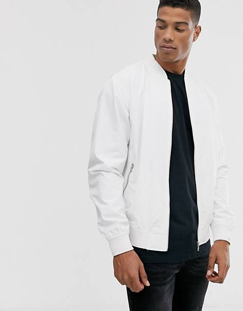 Pull&Bear bomber jacket in white