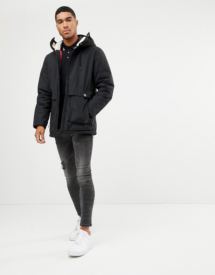 Pull&Bear Borg Lined Parka In Black by Pull&Bear