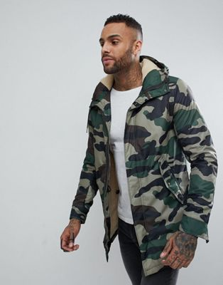 Pull&Bear Borg Lined Parka Jacket In Camo