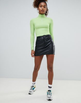 Pull&bear button top pu skirt