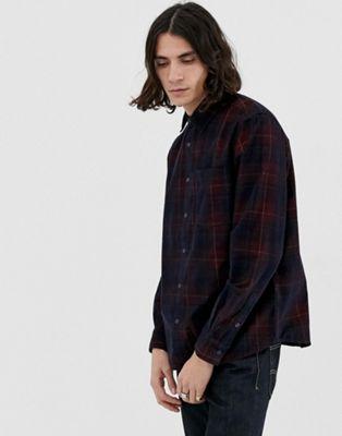 Immagine 1 di Pull&Bear - Camicia in tessuto a coste bordeaux a quadri
